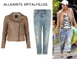 Halle Berry's AllSaints Hardy Leather Jacket And AllSaints Everit Kick Jeans