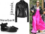 Heidi Klum's Jitrois Leather Biker Jacket And NewbarK Claudia Suede And Leather Flats