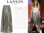 Jennifer Lopez' Lanvin Draped Jersey Top And Lanvin Printed Silk Blend Lamé Maxi Skirt