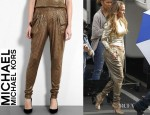 Jennifer Lopez' MICHAEL Michael Kors Gold Sequin Harem Trousers And Jimmy Choo Garland Glitter Finish Leather Sandals