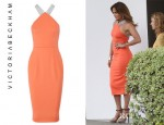 Jennifer Lopez' Victoria Beckham Stretch Crepe Dress And Lanvin Leather, Suede And Wood Platform Sandals