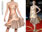 Jessica Chastain's Viktor & Rolf Mesh Inserts On Techno Silk Duchess Dress