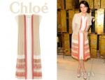 Jessica Stam's Chloé Pleated Silk Georgette Dress