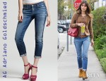 Jordana Brewster's AG Adriano Goldschmied Rolled Up Skinny Jeans