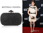Kate Mara's Bottega Veneta Studded Intrecciato Leather Knot Clutch