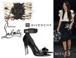 Kim Kardashian's Givenchy Embellished Hagfish Sandals And Christian Louboutin Sweet Charity Paradis Shoulder Bag