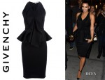 Kim Kardashian's Givenchy Peplum Dress & Bottega Veneta Knot Clutch