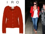 Lea Michele's IRO Agnette Distressed Bouclé Tweed Jacket