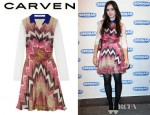 Lily Collins' Carven Printed Silk Chiffon And Lace Dress