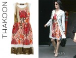 Lucy Liu's Thakoon Printed Cotton And Silk Blend Lamé Dress