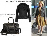 Mena Suvari's All Saints Walker Leather Biker Jacket And Balenciaga Arena Perforated Leather Bowling Bag