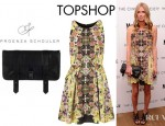 Nicky Hilton's Topshop Intricate Flower Origami Dress And Proenza Schouler PS1 Textured Leather Clutch
