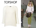 Nicola Roberts' Topshop Knitted Wetlook Stitch Jumper