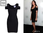 Nina Dobrev's Hervé Léger Lotus Scalloped Trim Dress