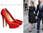 Olivia Palermo's Charlotte Olympia Paloma Fan Pleat Satin Pumps