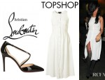 Rihanna's Topshop Button Front Midi Dress And Christian Louboutin Crosspiga Patent Pumps