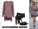 Rosie Huntington-Whiteley's Stella McCartney Pomegranate Circle Print Portman Dress and Alexander Wang Chloe Leather Heels