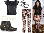 Shenae Grimes' Alice + Olivia Leather Short Sleeve Butterfly Top, Alice + Olivia Cropped Printed Low Rise Skinny Jeans And Chloé Studded Leather Ankle Boots