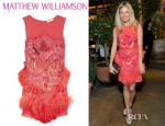 Sienna Miller's Matthew Williamson Feather And Bead Embellished Silk Chiffon Dress