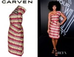 Solange Knowles' Carven Asymmetric Cotton Blend Jacquard Dress