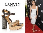 Sophia Banks-Coloma's Miu Miu Glitter and Suede Trimmed Platform Sandals
