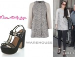 Tulisa Contostavlos' Warehouse Tweed Contrast Sleeve Coat and Miss Selfridge Celeste Chunky Heels