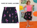 Willow Shields' Marc by Marc Jacobs Night Bird Printed Silk Taffeta Skirt