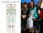 Zoe Saldana's Prabal Gurung Printed Wool And Silk Blend Straight Leg Pants