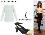 Alexa Chung's Carven Lace Appliquéd Silk Organza Twill Shirt And YSL Ingénue Suede And Metal Slingbacks