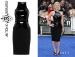 Alice Eve's Antonio Berardi Patent Paneled Stretch Crepe Dress