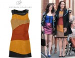 Andie Macdowell's Proenza Schouler Leather And Woven Tweed Dress