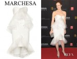 Andrea Riseborough's Marchesa Ruffled Silk Crepe Strapless Dress