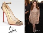 Anna Kendrick's Christian Louboutin Picks & Co Crystal Stud Embellished Lace And Metallic Leather Pumps