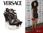 Brandy's Versace Studded Suede And Mesh Platform Sandals