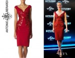 Brooklyn Decker's Antonio Berardi V-Neck Beaded Dress