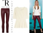 Cat Deeley's The Row Tercus Leather Leggings Style Pants And Stella McCartney Stretch Jersey Peplum Top