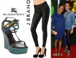 Cedella Marley's Burberry Wedge Sandals And J Brand Leather Skinny Pants
