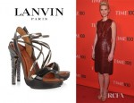 Claire Danes' Lanvin Opanca Crystal Embellished Leather Sandals