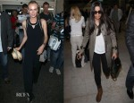 Diane Kruger In Anthropologie & Freida Pinto Arrive At Nice Airport For Cannes