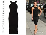 Eva Longoria's Victoria Beckham Stretch Crepe Cutaway Dress