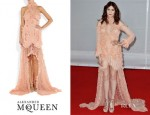 Florence Welch's Alexander McQueen Ruffled Bead-Embellished Chiffon and Lace Gown