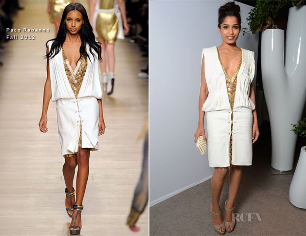 Freida Pinto In Paco Rabanne - L'Oreal Paris 15th Anniversary Dinner