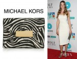 Hilary Swank's Michael Kors Quinn Zebra Print Calf Hair Clutch