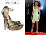 Jada Pinkett Smith's Jimmy Choo Greta Lamé Covered Suede Sandals