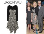 January Jones' Jason Wu Printed Silk Crepe De Chine And Jersey Dress