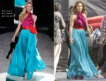 Jennifer Lopez In Salvatore Ferragamo - 'American Idol' Top 3 To 2 Elimination Show