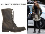 Jessica Alba's All Saints Shearling Suede Military Boot