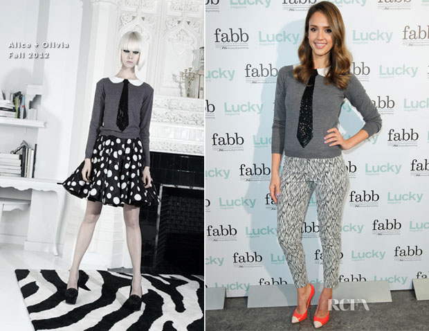 jessica alba in alice olivia fabb fashion and beauty blog conference red carpet fashion. Black Bedroom Furniture Sets. Home Design Ideas