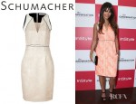 Jordana Brewster's Schumacher Sleeveless Dress And Jimmy Choo Linda Suede Sandals