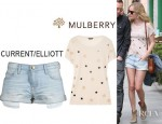 Kate Bosworth's Mulberry Effie Star Embellished Jersey T-Shirt And Current/Elliott Girlfriend Shorts